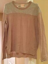 Rebecca Taylor Cashmere Sweater Fuzzy Block Smoke Mist Size Large