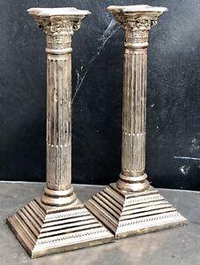 """Silver Plated Corinthian Column Candlesticks. 10"""" Tall."""