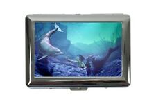 cigarette case tin Gothic Mermaid Dolphin Print Dream World Vintage