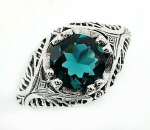 2CT Apatite 925 Sterling Silver Nouveau Style Ring Jewelry Sz 9, UF12