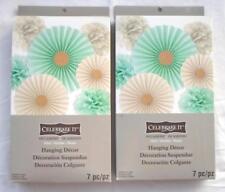 14pc Wedding Decor Hanging Poms Flower Rosettes Mint Green Cream Celebrate It
