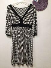 Womens dress size medium black white polka dot 3/4 sleeves Soprano 181