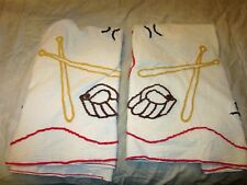 "2 Vtg Baseball Bat & Gloves Chenille Bed Spread Pieces each about 70""-76"""
