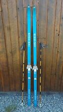 "ANTIQUE Wooden 78"" Long with Bindings Signed SISU-SKI + Bamboo Poles"