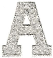 "1 7/8"" Bright Metallic Silver Monogram Block letter A Embroidery Patch"