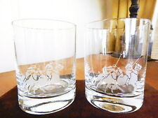 Ralph Lauren Home GARRETT Crystal Double Old Fashioned DOF Glasses  PAIR - NICE!