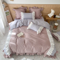Luxury Cotton Korean Princess Style Bedding Set Lace Edge Cover Fitted Sheet