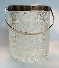 Mid Century Made In England Crystal Ice Bucket With Silver Handle
