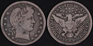 United States USA 1909 Barber Quarter 25 Cents World Silver Coin