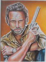A00829 Original ART The Walking Dead Rick Grimes  *NOT A PRINT* Cliff Art Studio