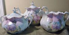 RS Prussia Tea Set OM 13 Teapot Pitcher Sugar Bowl 3 Pieces Lavender Lilacs Demi