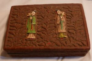 Antique Chinese Cinnabar Box with 2 hand carved Figures