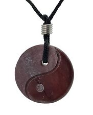 Yin Yang Red Jasper Gemstone Pendant Hand Carved Stone Necklace Jewelry