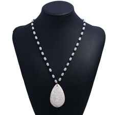 Women Fashion Beads Jewelry White Chain Crack Necklace Pendant Turquoise