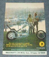 1975 Hallcraft Motorcycle Wheels Vintage Ad with Yamaha Powered Chopper