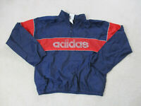 VINTAGE Adidas Jacket Adult Large Blue Red Spell Out Lightweight Coat Mens 90s *