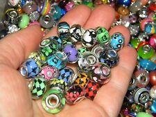 NEW 20/pcs  GRAPHIC MIXED Random Charm spacer European Beads Acrylic LOT(USA)