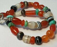 A NICE BRACELET OF ANCIENT AGATE, CARNELIAN & ANTIQUE TURQUOISE DISC BEADS
