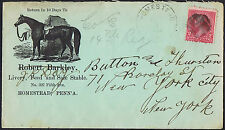 USA 1894 2c Red Barkley Horse Stables Illustrated Advertising Envelope.