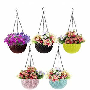 Plastic Hanging Pot, 13 inch Approx, hanging Flower pot, Multicolour, Set of 5
