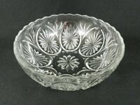"Vintage Clear Pressed Glass Serving Bowl Starburst Pattern Scallop Edge 8"" W"