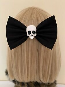 Large black skull hair bow clip rockabilly pin up girl punk gothic halloween