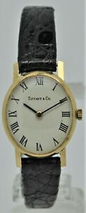 Tiffany & Co solid 18k yellow gold ladies dress watch