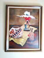 Vintage Oil on Canvas Southwestern Native American Kachina Pottery Art Painting