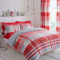 Modern Tartan Check Camden Bedding Red/Grey Duvet Set Pillowcases and Curtains