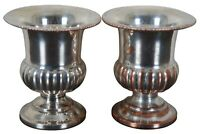 Traditional Pair of Trophy Urn Silver Plate Toothpick Holder Bud Vases