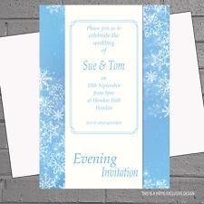 Winter Wedding Evening Day Reception Invitations x 12 + env Snowflake Panel