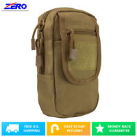 Tan Large Utility Pouch Heavy Duty PVC MOLLE PALS Tactical Gear Zippered Gear