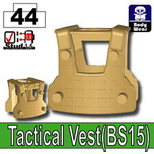 Dark Tan BS15 Tactical Army Vest (W256) compatible with toy brick minifigures