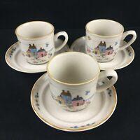 Set of 3 VTG Cups and Saucers International Tableworks Heartland Farm Rustic