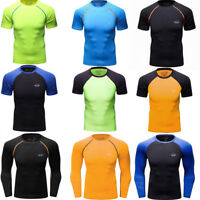 Men's Compression T Shirts Running Basketball Fitness Dri fit Tops Lycra Gym Tee