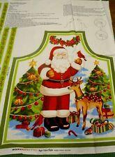 Nostalgic Christmas Santa Apron Cotton Quilting Panel Fabric -Sugar & Spice