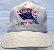 Polaris 650 SL Triple White Snapback Baseball Hat Pink Blue Logo Made in USA HTN