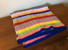Vintage Handmade Crochet or Knit MultiColor Lap Throw