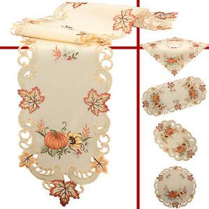 Pumpkin Sunflower Embroidery Tablecloth Table runner Pillowcase Linen-Look Cream