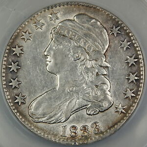 1833 Bust Silver Half Dollar, ANACS AU-50 Details, Cleaned