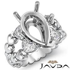 Natural Diamond Engagement Ring 14k White Gold 1Ct Heart & Pear Shape Semi Mount