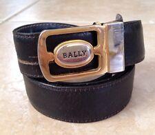 "BALLY Black Blue Reversible Leather Belt Gold Solver Tone Logo Buckle Mens 38"""