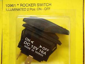 ROCKER SWITCH BLACK 2 POSITION ON OFF LIGHTED 50 10961 fits V1D1 12V DC