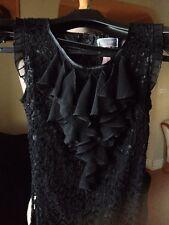 LIPSY black laced mini dress, with chiffon ruffles , size 6-8 ( XS - S )