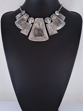 and Geometric Design Statement Necklace Modern Antiqued Silver Link Loop Chain