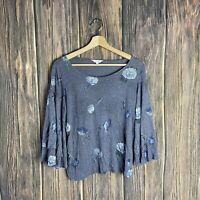 Lucky Brand Top Small Blue Floral Metallic Boho Flare Bell Sleeve 3/4 Peasant