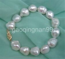 NATURAL 12-13MM SOUTH SEA GENUINE baroque WHITE PEARL BRACELET 14K