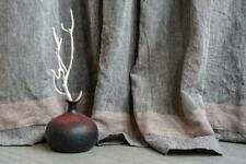 Natural linen curtains in scandinavian nordic style, organic rustic window home