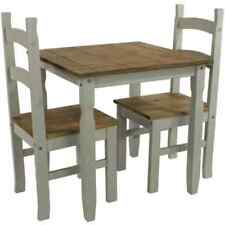 Corona Grey dining set, washed pine, 1 square table and 2 chairs. In UK stock.