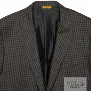 HICKEY FREEMAN Sport Coat 46 L Char Gray Cocoa Wool-Cashmere Shepherds Check
